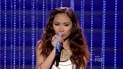 Jessica Sanchez gave her look a wild edge with unkempt and slightly crimped curls.