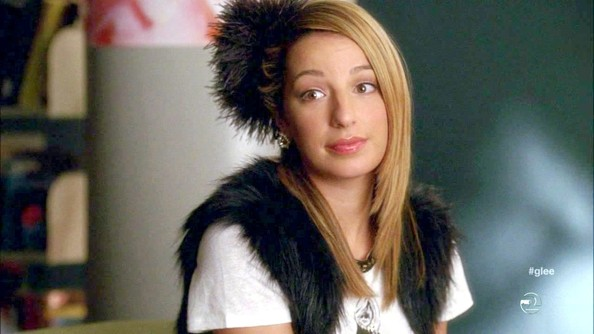 Heather Morris complemented her furry vest with an equally fuzzy headdress on Glee.