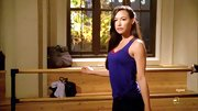Naya Rivera chose a purple tank to wear while practicing dance on 'Glee.'