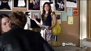 Lucy Hale embraced florals in a skater tulip print skirt on 'Pretty Little Liars.'