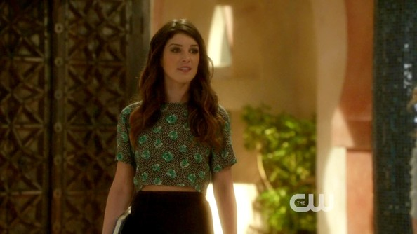 Shenae Grimes continued to show off her abs on '90210' in this bright crop top.