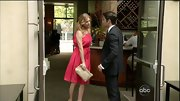 Emily VanCamp kept the focus on her hot pink dress by pairing it with a nude clutch and matching pumps.