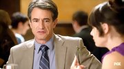 Dermot Mulroney topped off his date suit with this classic striped tie.