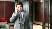 Josh Bowman looked all business in this gray three-piece suit with matching gray tie.