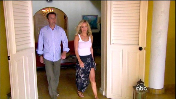 Emily Maynard showed off one of her bronzed legs in a sexy tribal print high-low hem skirt on 'The Bachelorette.'