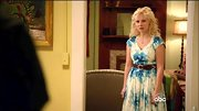Clare Bowen chose a blue and white tie dye dress for her country-inspired look while on 'Nashville.'