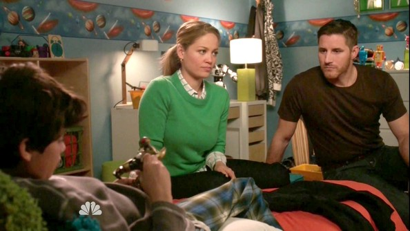 Erika Christensen looked preppy in a checkered blouse and kelly green sweater.