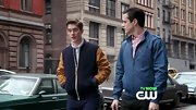 Jake Robinson sported a casual blue zip-up jacket on 'The Carrie Diaries.'