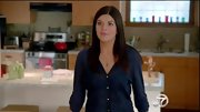 Casey Wilson tried out the sheer trend on 'Happy Endings' in this navy chiffon button-down.