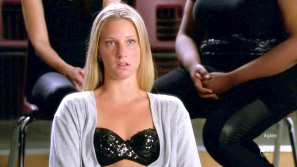 Heather Morris did her best Britney Spears imitation in a bedazzled black bra on 'Glee.'
