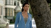 Shay Mitchell breaks a sweat on 'Pretty Little Liars' in a powder blue hoodie.