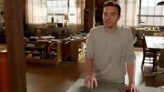 Jake Johnson's slouchy top walked the line between a sweatshirt and a sweater.