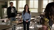 Holly Marie Combs keeps things professional in the classroom on 'Pretty Little Liars' with a satiny blue blouse.