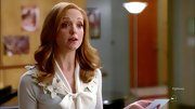 A decorative floral and bow neckline spiced up Jayma Mays' look on 'Glee.'