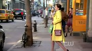 Leighton Meester's burgundy chain strap purse tied her floral print dress and yellow coat together perfectly.