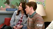 Brendan Dooling paired a striped crewneck over a button down for a totally preppy look on 'The Carrie Diaries.'
