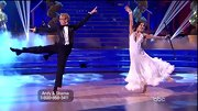 Sharna Burgess chose a long and flowing white dress for her dance with comedian Andy Dick.