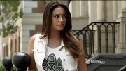 Shay Mitchell gave her biker vest tribal flair with a graphic tank on 'Pretty Little Liars.'