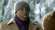 Cress Williams went for a preppy winter vibe in this cuffed gray beanie.