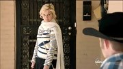 Clare Bowen chose a more casual look on 'Nashville' when she wore this white and blue abstract-print sweater.