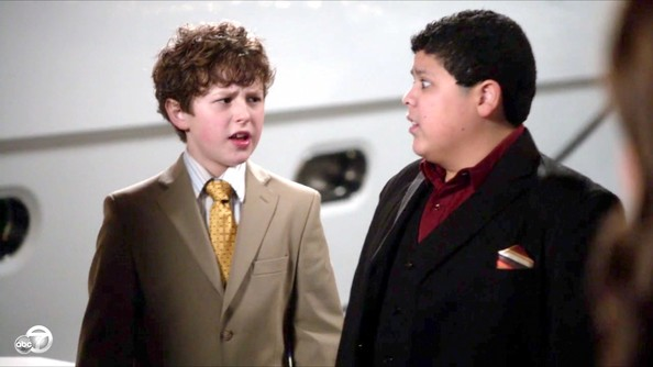 Nolan Gould looked like quite the little gentleman in this camel suit and yellow tie.