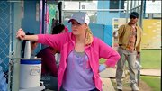 Even on the softball field, Elisha Cuthbert keeps her style girly as can be with a lavender henley and hot pink hoodie.