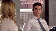 Chace Crawford looked ready for business in a dusky blue skinny tie and finely striped button-down.