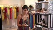 Sofia Black-D'Elia had a boho vibe in this a silky tank and layered beaded necklaces on 'Gossip Girl.'