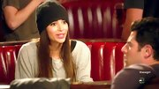 Hannah Simone attempted to downplay her model looks with a black beanie and slouchy sweatshirt.