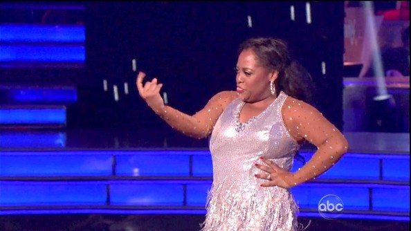 Something about the sheer rhinestone-covered sleeves of Sherri Shepherd's flapper style dress are so very Britney Spears.