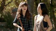 Zooey Deschanel roughed it on 'New Girl' in an adorable and slightly lumber jack-inspired plaid shirt.