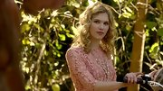 Claudia Lee epitomized romance wearing this pink lace day dress on her bicycle.