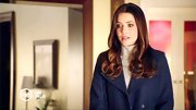 Julie Gonzalo looked like she stepped out of a J. Crew catalog in this preppy navy pea coat.