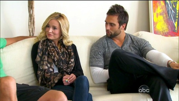 Emily Maynard gives classic pieces added flavor with a patterned scarf.