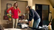 A bright red top added major zing to Anne Dudek's olive pants on 'Covert Affairs.'
