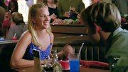 Heather Morris was sweet as can be in this blue dotted and ruffled blouse.