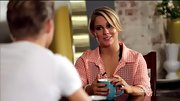 Shawn Johnson looked like the girl next door in a gauzy pink gingham button-down.
