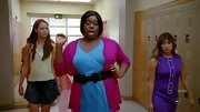 Alex Newell was sassy as can be on 'Glee' in a blue dress and berry cardigan.