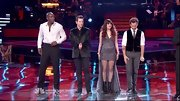 For the finale of 'The Voice,' Juliet Simms upped the drama of her stage-wear in a sparkly gunmetal gray fishtail gown.