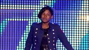 Diamond White gave her sequins a military vibe with this brass-buttoned jacket.