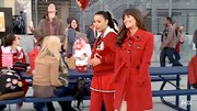 Nothing is quite as classic as Lea Michele's red wool coat with contrasting black buttons.