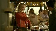 Mircea Monroe sweetened her cowgirl vibe with a coral jean jacket and perfectly coiffed curls.