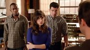 Zooey Deschanel chose this purple crewneck for her quirky but preppy look on 'New Girl.'