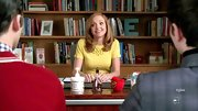Jayma Mays made a case for monochrome in a sunny yellow bow-sleeved sweater and a matching bib necklace.