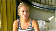 Emily Maynard kept her hair away from her face with a skinny striped headband.
