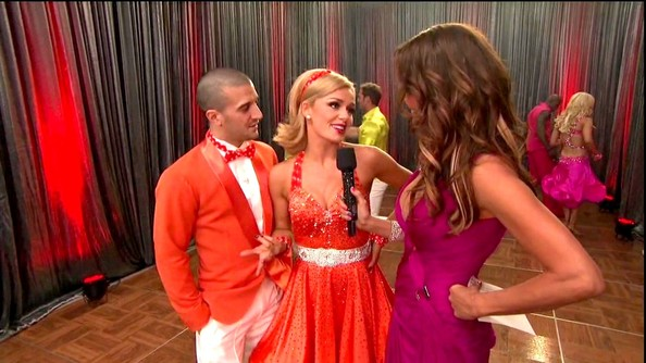 Katherine Jenkins could have easily passed for one of the Fanta girls in this beaded orange number.