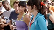 Hannah Simone's blunt bangs were still in full force—even for a marathon run.